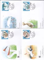 World Wide Fund For Nature 2007 Iran,Siberian Crane Set 4 Official First Day Covers - FDC