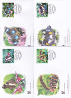 World Wide Fund For Nature 2008 Aiututaki,Butterflies, Set 4 Official First Day Covers - FDC