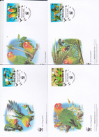 World Wide Fund For Nature 2009 Malawi,Lilian's Lovebird, Set 4 Official First Day Covers - FDC