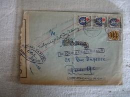 Occupation Allemagne 1946 Lettre Ouverture Censure  Hindenbursh Pour Pari S 4 Timbre Zone Francaise - Guerre De 1939-45