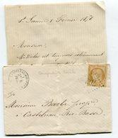 HAUTES PYRENEES De SAINT LANNE LAC Du 05/02/1876 Port Local N°59 Oblitéré GC 762+ Dateur CASTELNAU RIVIERE BASSE - 1849-1876: Classic Period