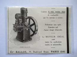 1928 - Moteur à Huile Lourde BALLOT Type 10 12 Cv   - Coupure De Presse Originale (Encart Photo) - Tools