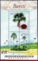 Ref. BR-3264 BRAZIL 2013 FRUITS, BURITI, TREE, MACAWS,, GROVE, HANDCRAFT, S/S MNH 2V Sc# 3264 - Papegaaien, Parkieten