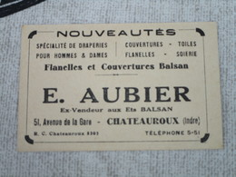 NOUVEAUTES - Spécialité De Draperie - Couvertures - Toiles - Flanelles - E. AUBIER - 51, Avenue De La Gare - Chateauroux