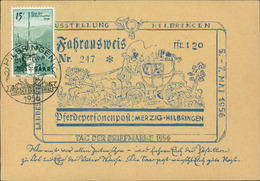 FDC Saarland, Tag Der Briefmarke 1956, Stempel Hilbringen, Auf Fahrausweis (39) - FDC