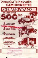 92- GENNEVILLIERS-89- JOIGNY- RARE PUBLICITE CAMIONNETTE CHENARD WALCKER- 500 KGS-GARAGE DE FRANCE G. CALANDRE-JEANDOT - Cars