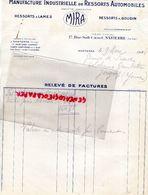 92- NANTERRE- RARE FACTURE MIRA-MANUFACTURE INDUSTRIELLE DE RESSORTS AUTO-AUTOMOBILES-17 RUE SADI CARNOT-1934 - Cars