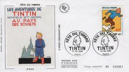 FRANCE 3303 FDC Premier Jour Fête Du Timbre 2000 Paris Soviets Moscou TINTIN HERGE KUIFJE BEDE COMICS STRIP - Comics