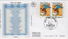 FRANCE 3303 + 3304 FDC Premier Jour Fête Du Timbre 2000 Paris Aventures TINTIN HERGE KUIFJE BEDE COMICS STRIP - Comics