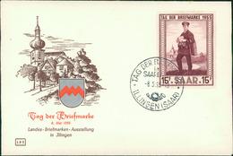 FDC Saarland, Tag Der Briefmarke 1955, Michel 361, Stempel Illingen (65) - FDC