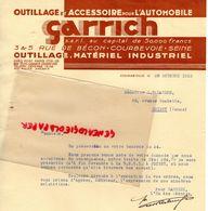 92- COURBEVOIE- LETTRE GARRICH- OUTILLAGE ACCESSOIRE AUTOMOBILE-3 RUE DE BECON- 1933  AUTO - Cars