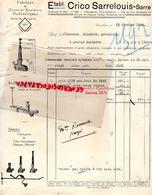 57- SARRELOUIS- RARE FACTURE ETS. CRICO SARRELOUIS SARRE- FABRIQUE CRICS ET ROULEURS HYDRAULIQUES- 1934 AUTO - Cars