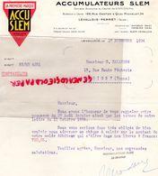 92- LEVALLOIS- RARE LETTRE ACCU SLEM- ACCUMULATEURS -AUTO AUTOMOBILE-186 RUE DANTON-34 QUAI MICHELET-1934 - Cars