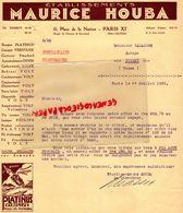 75- PARIS- RARE LETTRE ETS. MAURICE HOUBA-GARAGE AUTO-AUTOMOBILE-11 PLACE DE LA NATION -ANGLE AV. BOUVINES-1933 - Cars
