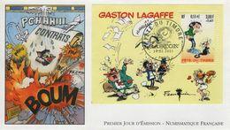 FRANCE Bloc  34 FDC 1er Jour Luxe GASTON LAGAFFE Comics Bande Dessinée BD André FRANQUIN Et Journal SPIROU 55 - Comics