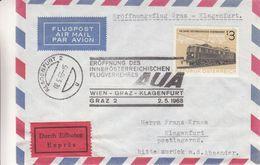 Autriche - Lettre Exprès De 1963 - Oblit Wien - Vol Spécial Wien Graz Klagen - Trainsfurt - 1945-.... 2nd Republic