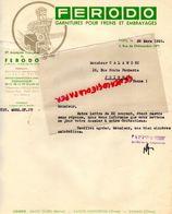 75- PARIS- CLIGNANCOURT- LETTRE FERODO-GARNITURES FREINS - 2 RUE CHATEAUDUN- USINE SAINT OUEN-SAINTE HONORINE-CAHAN-1935 - Cars
