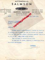 75- PARIS BILLANCOURT - RARE LETTRE AUTOMOBILES SALMSON-MARCEL NADAUD- 136 AV. CHAMPS ELYSEES-14 AV.VERSAILLES-1936 - Cars