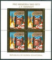 1974 Guinea Equatoriale Kennedy Apollo 11 Spazio Espace Gold Printed MNH** - Equatorial Guinea