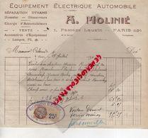 75- PARIS-  RARE FACTURE A. MOLINIE- EQUIPEMENT ELECTRIQUE AUTOMOBILE-DYNAMO DYNASTAR-1 PASSAGE LAUZIN-1930 - Cars