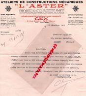 94- IVRY SUR SEINE- RARE LETTRE L' ASTER-DISTRIBUTEUR ESSENCE GEX- 6 RUE BAUDIN- ATELIERS CONSTRUCTIONS MECANIQUES-PARIS - Old Professions