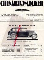 92- GENNEVILLIERS- 75- PARIS- RARE PUBLICITE CHENARD & WALCKER-  1930-  14 CV AUTO  AUTOMOBILE- - Cars