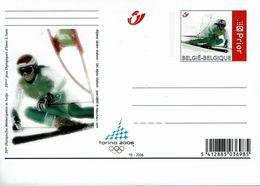 Belgien Belgie Belgium 2006 - Alpinski  Alpin Ski - Briefkarte - Winter 2006: Torino