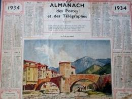 ALMANACH DES POSTES ET DES TELEGRAPHES( 1934) SOSPEL Le Pont - Calendars