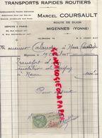 89- MIGENNES- RARE FACTURE MARCEL COURSAULT- TRANSPORTS RAPIDES ROUTIERS- ROUTE DE DIJON- DEMENAGEMENT-1935 - Transport