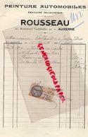 89- AUXERRE- RARE FACTURE ROUSSEAU- PEINTURE AUTOMOBILES-EMAILLAGE - 41 BD. VAULABELLE- 1934 - Cars