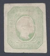 PORTUGAL 1855 DOM PEDRO V 50r GREEN Nº 7 ESSAY ON  CARTON PAPER - 1855-1858 : D.Pedro V
