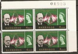 Barbados  1966  SG 337 Churchil  Unmounted Mint Bblock Of Four - Barbados (1966-...)