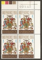 Barbados  1966  SG 356  Independence Unmounted Mint Block Of Four - Barbados (1966-...)