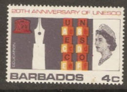 Barbados  1967  SG 360  UNESCO Unmounted Mint - Barbados (1966-...)