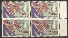 Barbados  1968  SG 378  Human Rights  Unmounted Mint Block Of Four - Barbados (1966-...)