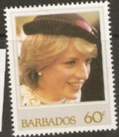 Barbados  1982  SG  706  Princess Diana  Unmounted Mint - Barbados (1966-...)