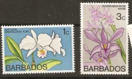Barbados  1974 SG  510,12  Orchids  Mounted Mint - Barbados (1966-...)