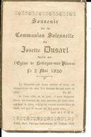Grâce Hollogne Hollogne Aux Pierres Souvenir Communion Josette Dusart 2 Mai 1920 - Grâce-Hollogne