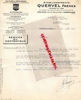 93- AUBERVILLIERS- LETTRE ETS. QUERVEL FRERES- HUILES GRAISSES AUTOMOBILES AUTO- 25 RUE DU PORT -1933 - Cars