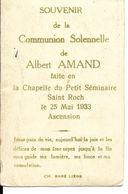 Ferrières Souvenir Communion Albert Amand Séminaire Saint Roch 25 Mai 1933 - Ferrières