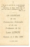 Hannut Souvenir Communion Louis Leroy 6 Mai 1934 - Hannut