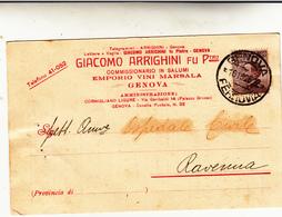 Giacomo Arrighini: Emporio Vini Marsala Salumi. Genova Testatina Pubblicitaria 1926 Al Retro Perfin - Commercio