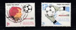 Malta 1986 Mi Nr 748 + 749 Voetbal, Football,  WK Mexico - Malta