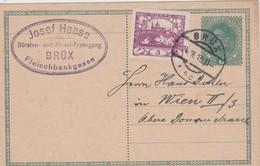 TCHECOSLOVAQUIE 1919 ENTIER POSTAL CARTE DE BRÜX / MOST - Postal Stationery