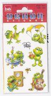 Pochette De 3 Feuilles De Stickers GRENOUILLES Pour Décorer Cahiers Livres - Scrapbooking