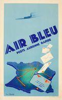 Air Bleu Poste Aerienne Rapide 1930s - Postcard Reproduction - Publicité