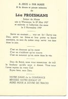 Waremme Souvenir Mortuaire Léa Proesmans 29 Mai 1927 5 Novembre 1949 - Borgworm