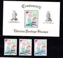 Liberia 1960 Mi Nr 557 - 559 + Blok 17: 100 Jaar Postzegels In Liberia, Postfris - Liberia