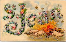 CPA Cochon Pig  Gaufré Gaufrée Embossed écrite Saint Jean - Pigs