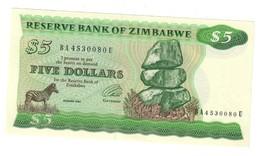 Zimbabwe 5 Dollars 1994 AUNC Pressed .J. - Zimbabwe